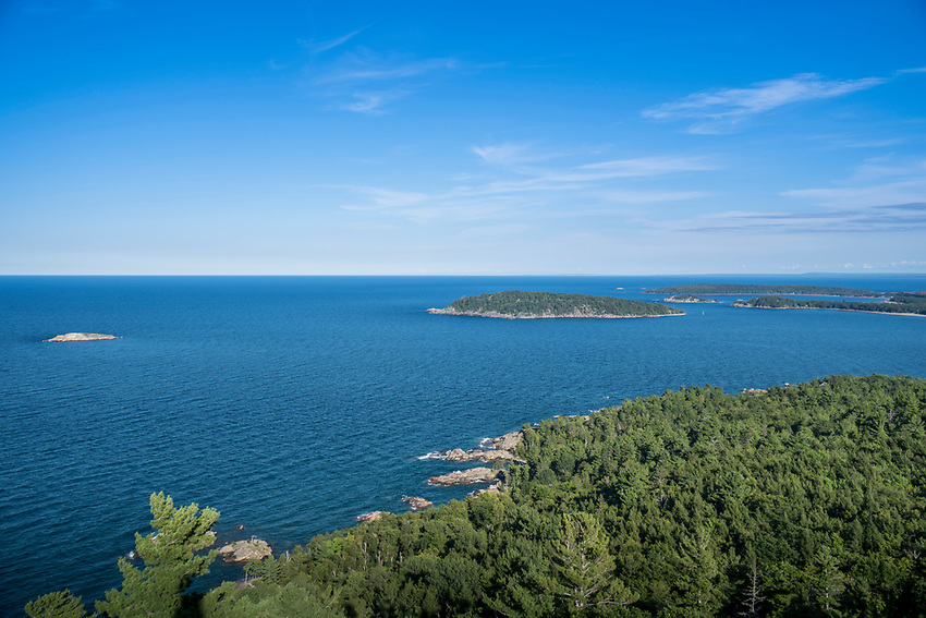 View of Lake Superior islands from Sugarloaf Mountain near Marquette, Michigan.
