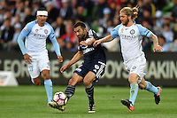 Melbourne, 17 December 2016 - FAHID BEN KHALFALLAH (14) of the Victory kicks the ball in the round 11 match of the A-League between Melbourne City and Melbourne Victory at AAMI Park, Melbourne, Australia. Victory won 2-1 (Photo Sydney Low / sydlow.com)