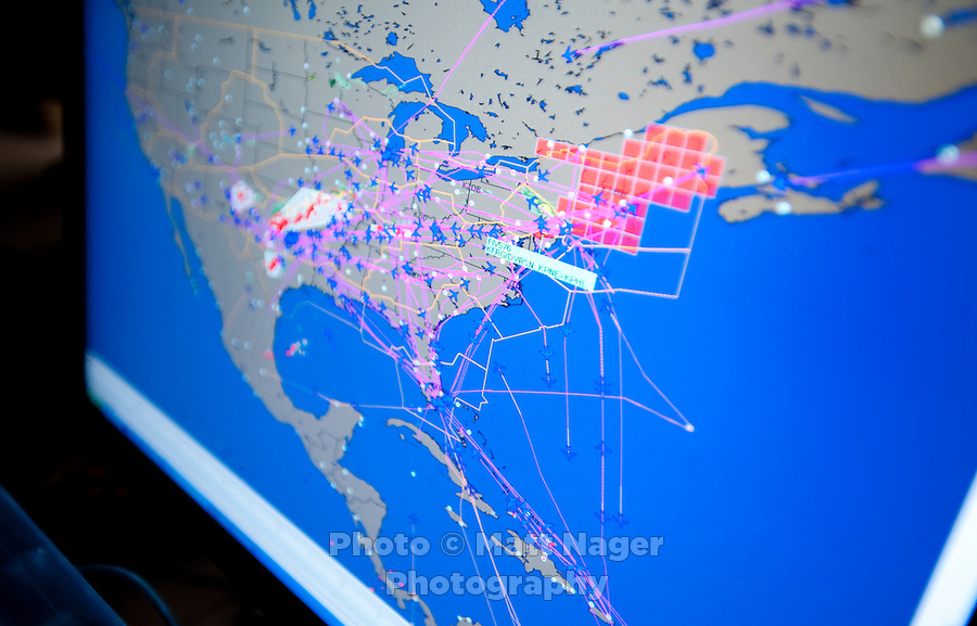 A computer screen shows all active American Airlines flights in the United States at the Systems Operations Control Center near Dallas-Fort Worth International Airport (DFW) in Dallas, Texas, Friday, May 14, 2010. ..PHOTO: MATT NAGER