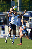 Kansas City, MO - Saturday July 16, 2016: Yael Averbuch, Katie Stengel during a regular season National Women's Soccer League (NWSL) match between FC Kansas City and the Washington Spirit at Swope Soccer Village.