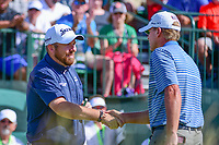 Shane Lowry (IRL) shakes hands wih Steve Stricker (USA) on the 1st tee before Saturday's round 3 of the 117th U.S. Open, at Erin Hills, Erin, Wisconsin. 6/17/2017.<br /> Picture: Golffile | Ken Murray<br /> <br /> <br /> All photo usage must carry mandatory copyright credit (&copy; Golffile | Ken Murray)