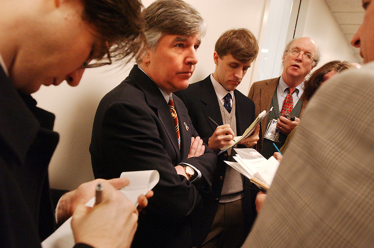 cfr1/020602 - Rep. Marty Meehan, D-Mass., speaks to the press about next week's Campaign Finance Reform debate.