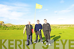 Old Reserves golfers Richard Greer, Damien Greer and Richard Greer Jnr at the 18th at Ceann Sibeal Dingle Golf Course on Saturday.
