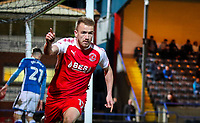 Paddy Madden of Fleetwood Town celebrates scoring his teams first goal during the Sky Bet League 1 match between Rochdale and Fleetwood Town at Spotland Stadium, Rochdale, England on 20 March 2018. Photo by Thomas Gadd / PRiME Media Images.