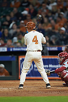 Silas Ardoin (4) of the Texas Longhorns at bat against the Arkansas Razorbacks in game six of the 2020 Shriners Hospitals for Children College Classic at Minute Maid Park on February 28, 2020 in Houston, Texas. The Longhorns defeated the Razorbacks 8-7. (Brian Westerholt/Four Seam Images)