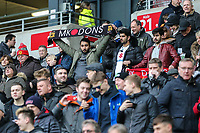 MK Dons fans during the Sky Bet League 1 match between MK Dons and AFC Wimbledon at stadium:mk, Milton Keynes, England on 13 January 2018. Photo by David Horn.
