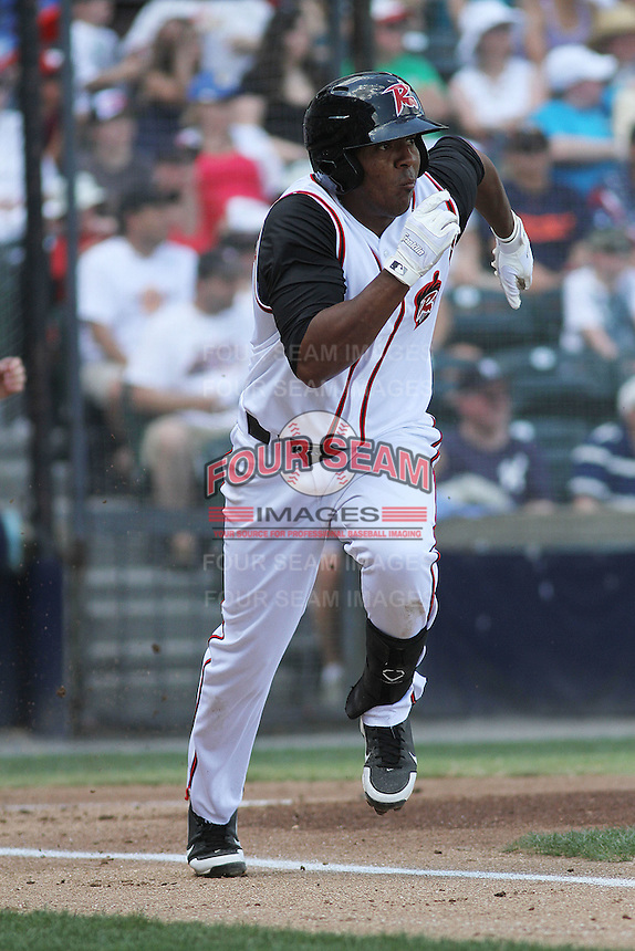 Richmond Flying Squirrels third baseman Daniel Mayora #23 at bat during a game against the Trenton Thunder at The Diamond on May 27, 2012 in Richmond, Virginia. Richmond defeated Trenton by the score of 5-2. (Robert Gurganus/Four Seam Images)