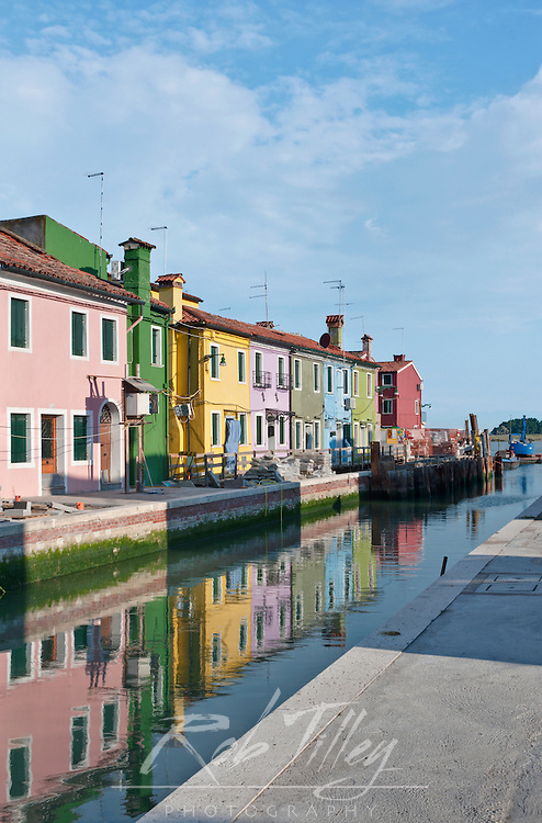Europe, Italy, Venice, Burano, Houses on Canal
