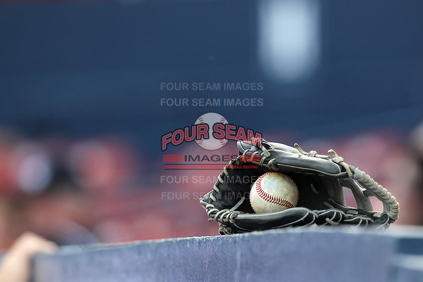Dartmouth Big Green glove and ball on top of the dugout during a game vs. the Northwestern Wildcats at Chain of Lakes Park in Winter Haven, Florida;  March 20, 2011.  Northwestern defeated Dartmouth 3-2.  Photo By Mike Janes/Four Seam Images