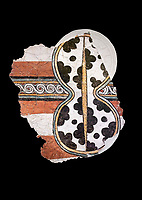 The 'figure of eight shield'  Mycenaean fresco wall painting, Mycenae Acropolis, Greece Cat No 11671. National Archaeological Museum, Athens. Black Background<br /> <br /> 12th-14th cent BC.<br /> <br /> The Mycenaean 'figure of eight shield' were originaly made of cows hide and was the symbol of a goddess of war.