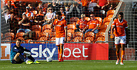Blackpool's Jak Alnwick, Ben Heneghan and Curtis Tilt react to going 2-0 down<br /> <br /> Photographer Alex Dodd/CameraSport<br /> <br /> The EFL Sky Bet League One - Blackpool v MK Dons  - Saturday September 14th 2019 - Bloomfield Road - Blackpool<br /> <br /> World Copyright © 2019 CameraSport. All rights reserved. 43 Linden Ave. Countesthorpe. Leicester. England. LE8 5PG - Tel: +44 (0) 116 277 4147 - admin@camerasport.com - www.camerasport.com