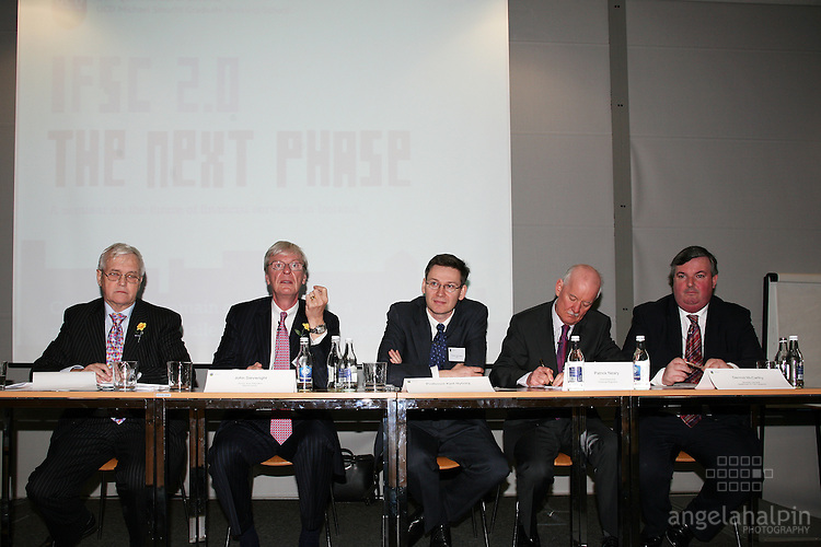 IFSC Phase 2.Institude of Bankers.March 5th 2008 .John Travers (Global finance Academy) John Sievwright (Merrill Lynch), Professor Kjell Nyborg (NHH), Patrick Neary (Financial Regulator), Dermot McCarthy (Department of The Taoiseach)