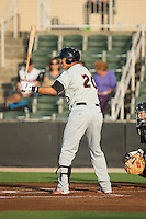 Jomar Reyes (20) of the Delmarva Shorebirds at bat against the Kannapolis Intimidators at CMC-Northeast Stadium on June 4, 2015 in Kannapolis, North Carolina.  The Shorebirds defeated the Intimidators 8-2.  (Brian Westerholt/Four Seam Images)