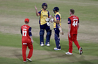 Ryan ten Doeschate and Ravi Bopara of Essex celebrate victory during Lancashire Lightning vs Essex Eagles, Vitality Blast T20 Cricket at the Emirates Riverside on 4th September 2019