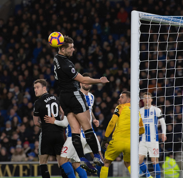 Burnley's James Tarkowski <br /> <br /> Photographer David Horton/CameraSport<br /> <br /> The Premier League - Brighton and Hove Albion v Burnley - Saturday 9th February 2019 - The Amex Stadium - Brighton<br /> <br /> World Copyright &copy; 2019 CameraSport. All rights reserved. 43 Linden Ave. Countesthorpe. Leicester. England. LE8 5PG - Tel: +44 (0) 116 277 4147 - admin@camerasport.com - www.camerasport.com