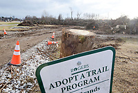 NWA Democrat-Gazette/FLIP PUTTHOFF <br />Property at the Blossom Way trailhead in Rogers is a dump site      Nov. 27 2019      for trees and branches picked up by city workers after the October tornado.