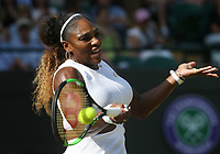Serena Williams (USA) during her match against Kaja Juvan (SLO) in their Ladies' Singles Second Round match<br /> <br /> <br /> Photographer Rob Newell/CameraSport<br /> <br /> Wimbledon Lawn Tennis Championships - Day 4 - Thursday 4th July 2019 -  All England Lawn Tennis and Croquet Club - Wimbledon - London - England<br /> <br /> World Copyright © 2019 CameraSport. All rights reserved. 43 Linden Ave. Countesthorpe. Leicester. England. LE8 5PG - Tel: +44 (0) 116 277 4147 - admin@camerasport.com - www.camerasport.com