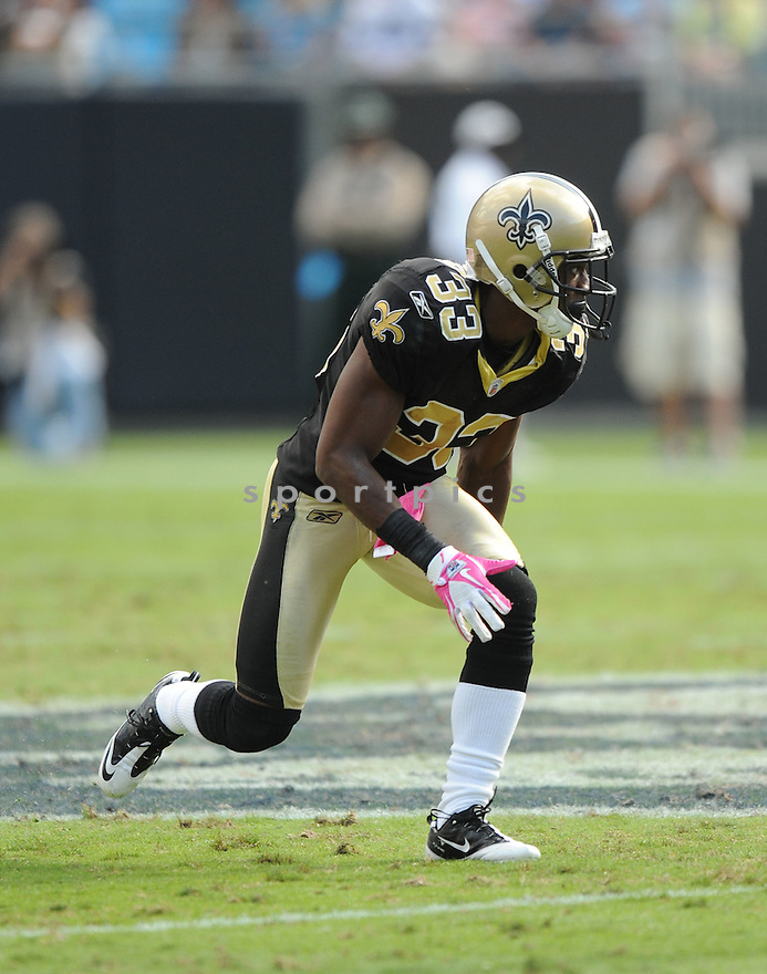 JABARI GREER, of the New Orleans Saints, in action during the Saints game against the Carolina Panthers on October 9, 2011 at Bank of America Stadium in Charlotte, NC. The Saints beat the Panthers 30-27.