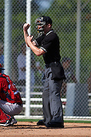 Umpire Reed Basner makes a strike call during an instructional league game between the Minnesota Twins and Boston Red Sox on September 26, 2015 at CenturyLink Sports Complex in Fort Myers, Florida.  (Mike Janes/Four Seam Images)