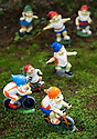 29/05/15<br /> <br /> Athletic Olympian gnomes. <br /> <br /> For one group of hardy folk, today's rain only adds to the fun that can be had by the beach, fishing in the river, or playing in the woods.<br /> <br /> The gnomes, and a few pixies and fairies, make up a collection, now believed to be close to 2,000 individuals, that 'live' at the Gnome Reserve near Bideford, North Devon.<br /> <br /> Visitors are asked to wear gnome hats, so as not to scare the gnomes who feature as the largest collection in the Guinness Book of World Records. <br /> <br /> Ann Atkin's collection began in 1979 and features traditional gnomes on toad-stools to Olympian athletes, astronauts who work for 'GNASA', a beach scene complete with gnomes in bikinis, a queue for the ice-cream van, Punch and Judy gnomes and another floating on a lilo. Other gnomes can be scene kissing, and flashing their bottoms as the visit the Gents and Ladies toilets. <br /> <br /> <br /> All Rights Reserved - F Stop Press.  www.fstoppress.com. Tel: +44 (0)1335 418629 +44(0)7765 242650