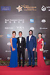 Luis Garcia (necktie) and his wife Katerine (blue dress), Xavier Asensi Brufau (purple handkerchief), and Jenny Yang (red dress) during the Red Carpet event at the World Celebrity Pro-Am 2016 Mission Hills China Golf Tournament on 20 October 2016, in Haikou, China. Photo by Weixiang Lim / Power Sport Images