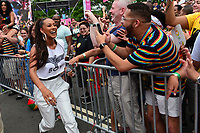 Washington, DC - June 10, 2018: Grammy nominated entertainer Keri Hilson makes her way to the audience as she performs at the 2018 Capitol Pride concert in Washington, D.C. June 10, 2018.  (Photo by Don Baxter/Media Images International)