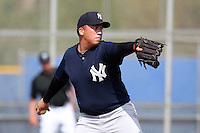 New York Yankees minor league player pitcher Francisco Gil #47 delivers a pitch during a game vs the Toronto Blue Jays at the Englebert Minor League Complex in Dunedin, Florida;  March 21, 2011.  Photo By Mike Janes/Four Seam Images