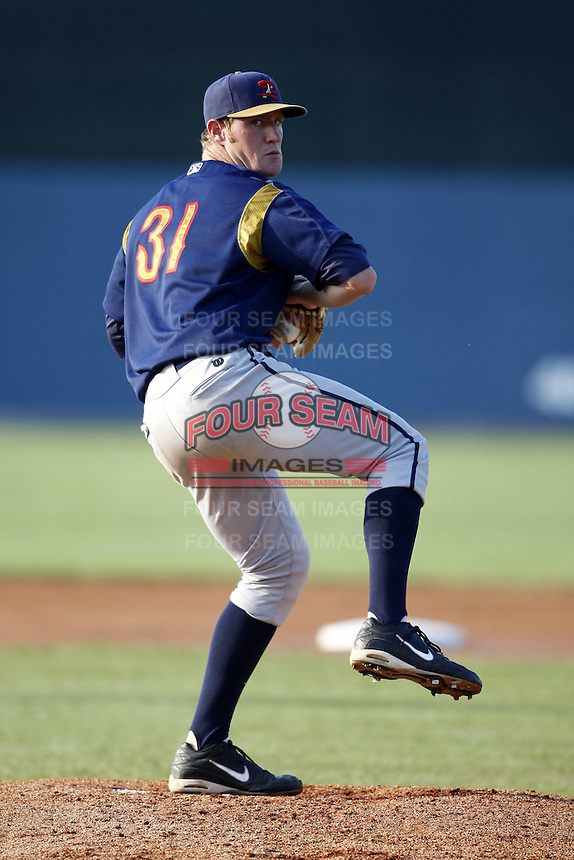 June 24, 2009:  Pitcher Tyler Cox of the State College Spikes delivers a pitch during a game at Eastwood Field in Niles, OH.  The Spikes are the NY-Penn League Short-Season A affiliate of the Pittsburgh Pirates.  Photo by:  Mike Janes/Four Seam Images