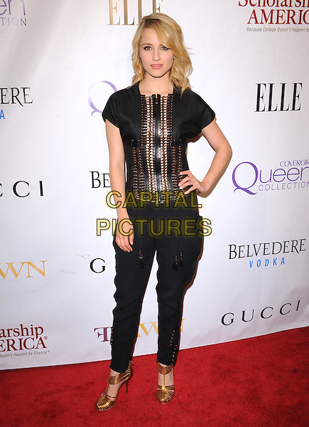 DIANNA AGRON.The 2nd annual Mary J. Blige Honors Concert to benefit FFAWN's Scholarship Fund held at Hammerstein Ballroom in NY, California, USA..May 1st, 2011.full length top hand on hip trousers shoes black cut out gold zip zipper.CAP/RKE/DVS.©DVS/RockinExposures/Capital Pictures.