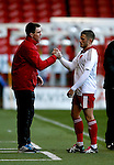 Florent Cuvelier of Sheffield Utd (r) is well received by U21 manager Chris Morgan (l) as he is substituted - Professional Development League Two - Sheffield Utd U21's  vs Birmingham City U21's  - Bramall Lane - Sheffield - England - 21st December 2015 - Pic Simon Bellis/Sportimage