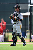 GCL Pirates catcher Yoel Gonzalez (5) during a game against the GCL Phillies on June 26, 2014 at the Carpenter Complex in Clearwater, Florida.  GCL Phillies defeated the GCL Pirates 6-2.  (Mike Janes/Four Seam Images)