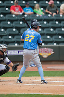 Jacob Rogers (27) of the Myrtle Beach Pelicans at bat against the Winston-Salem Dash at BB&T Ballpark on May 10, 2015 in Winston-Salem, North Carolina.  The Pelicans defeated the Dash 4-3.  (Brian Westerholt/Four Seam Images)