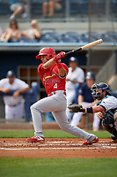 Palm Beach Cardinals Chase Pinder (4) bats during a Florida State League game against the Charlotte Stone Crabs on April 14, 2019 at Charlotte Sports Park in Port Charlotte, Florida.  Palm Beach defeated Charlotte 5-3.  (Mike Janes/Four Seam Images)