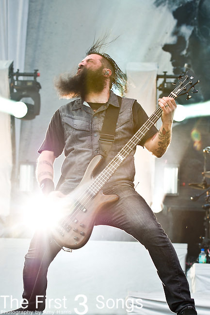 Johny Chow of Stone Sour performs during the 2013 Rock On The Range festival at Columbus Crew Stadium in Columbus, Ohio.