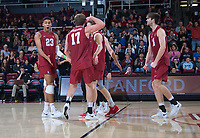 STANFORD, CA - March 2, 2019: Jaylen Jasper, Eli Wopat, Kyler Presho at Maples Pavilion. The Stanford Cardinal defeated BYU 25-20, 25-20, 22-25, 25-21.