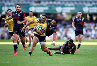 DURBAN, SOUTH AFRICA - JUNE 01: Lukhanyo Am of the Cell C Sharks tackling Ngani Laumape of the Hurricanes during the Super Rugby match between Cell C Sharks and Hurricanes at Jonsson Kings Park Stadium in Durban, South Africa on Saturday, 1 June 2019. Photo by Steve Haag / stevehaagsports.com