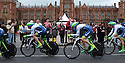 Team ORICA GreenEDGE (AUS) race past Queen's University Belfast during the first stage of the 2014 Giro d'Italia, a 21km Team Time Trial stage, May 9, 2014 in Belfast, Northern Ireland.