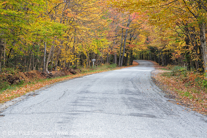 Tripoli Road in Waterville Valley, New Hampshire USA during the autumn months.