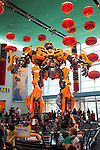 "In the Museum lobby, a huge Transformer, part of the ""Transformers: More Than Meets the Eye"" exhibit from March 7th-July 26th, 2015, greets visitors to the world's largest children's museum, The Children's Museum in Indianapolis, Indiana, USA"