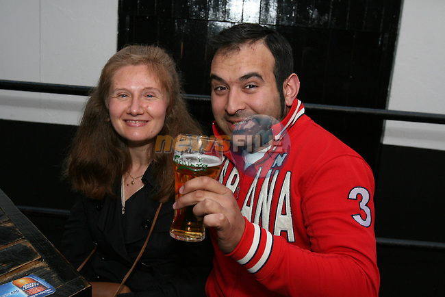 Elvi Lozano and Ivan Hoyos enjoy a night out in McPhails...Photo NEWSFILE/Jenny Matthews.(Photo credit should read Jenny Matthews/NEWSFILE)....This Picture has been sent you under the condtions enclosed by:.Newsfile Ltd..The Studio,.Millmount Abbey,.Drogheda,.Co Meath..Ireland..Tel: +353(0)41-9871240.Fax: +353(0)41-9871260.GSM: +353(0)86-2500958.email: pictures@newsfile.ie.www.newsfile.ie.FTP: 193.120.102.198.