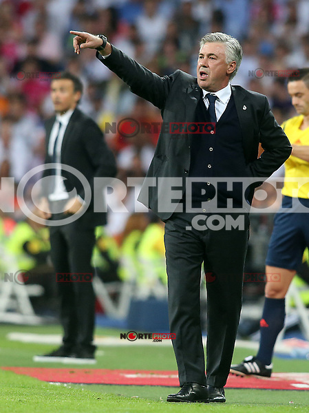 Real Madrid's coach Carlo Ancelotti (r) and FC Barcelona's coach Luis Enrique Martinez during La Liga match.October 25,2014. (ALTERPHOTOS/Acero) /nortephoto.com