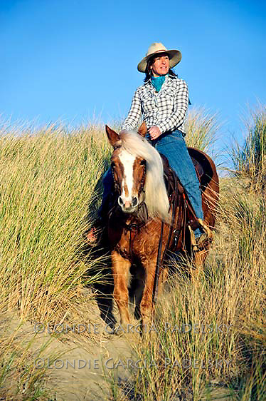 Cowgirl riding Palomino Horse. Central Coast, California