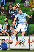 3rd November 2017, Melbourne Rectangular Stadium, Melbourne, Australia; A-League football, Melbourne City FC versus Sydney FC; Milos Ninkovic of Sydney FC and Iacopo La Rocca of Melbourne City FC compete for the ball