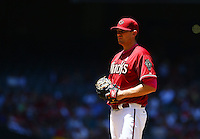 May 10, 2015; Phoenix, AZ, USA; Arizona Diamondbacks pitcher Daniel Hudson against the San Diego Padres at Chase Field. Mandatory Credit: Mark J. Rebilas-USA TODAY Sports