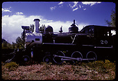 Fireman's-side view of RGS #20 displayed at Colorado Railroad Museum.<br /> RGS  Golden, CO  ca. 1970
