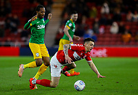 Middlesbrough's Jordan Hugill is fouled by Preston North End's Daniel Johnson<br /> <br /> Photographer Alex Dodd/CameraSport<br /> <br /> The EFL Sky Bet Championship - Middlesbrough v Preston North End - Wednesday 13th March 2019 - Riverside Stadium - Middlesbrough<br /> <br /> World Copyright &copy; 2019 CameraSport. All rights reserved. 43 Linden Ave. Countesthorpe. Leicester. England. LE8 5PG - Tel: +44 (0) 116 277 4147 - admin@camerasport.com - www.camerasport.com