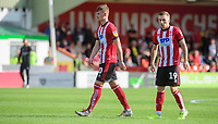 Lincoln City's Callum Connolly, left, and Lincoln City's Joe Morrell<br /> <br /> Photographer Chris Vaughan/CameraSport<br /> <br /> The EFL Sky Bet League One - Lincoln City v Fleetwood Town - Saturday 31st August 2019 - Sincil Bank - Lincoln<br /> <br /> World Copyright © 2019 CameraSport. All rights reserved. 43 Linden Ave. Countesthorpe. Leicester. England. LE8 5PG - Tel: +44 (0) 116 277 4147 - admin@camerasport.com - www.camerasport.com