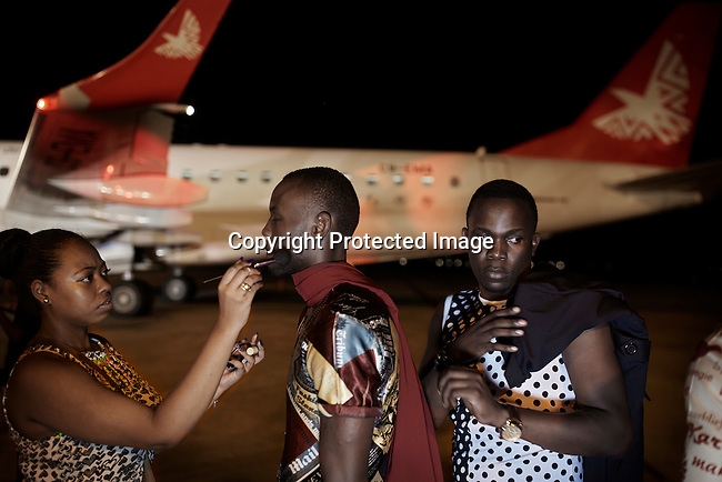 MAPUTO, MOCAMBIQUE - DECEMBER 12: The fashion designer Martin Katinda during a fashion show installation at Maputo airport on December 12, 2015 in Maputo Mozambique. (Photo by: Per-Anders Pettersson)