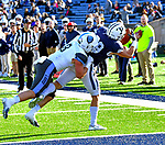 November 2nd, 2019:  JP Shohfi [blue] of Yale scores a great TD as the Bulldogs up their record to 6-1 defeating the Columbia Lions 45-10 in Ivy League football.  The game was held at the Yale Bowl in New Haven, Connecticut. Heary/Eclipse Sportswire/CSM