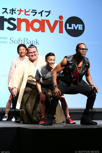 US actor Dante Carver, front, and other members dance during the SoftBank's new TV commercial press conference in Tokyo, Japan on June 16, 2016. (Photo by Shingo Ito/AFLO)